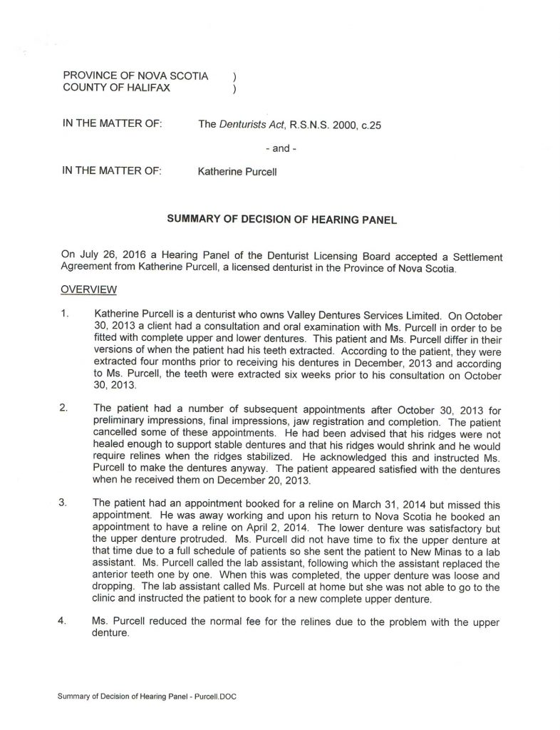 Page one of Board Decision rendered July 26, 2016